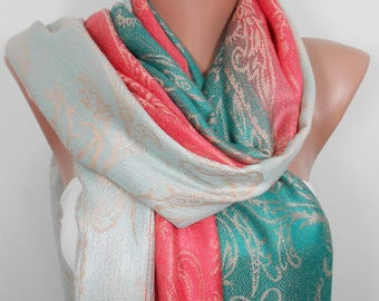 Wedding Scarf Pashmina Scarf Coral Green Scarf Shawl Coworker Gift Travel Gift Beauty Gift Holiday Christmas  For Mom For Wife Gift For Her