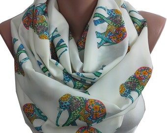 Elephant Scarf Infinity Scarf  Animal Scarf Boho Scarf Bohemian Accessories  Gift For Women Best Friend Gift For Women Gift For Her