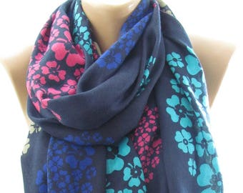 Soft Cotton Scarf Shawl Floral Scarf Navy Scarf Hippie Scarf Bohemian  Fashion Accessories    Boho Scarf Holiday Gift For Women Gift For Her