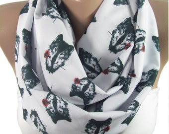 Wolf Scarf Infinity Scarf Christmas Gift For Her Wolf Print Scarf Women fall accessories Unique Gift For Women