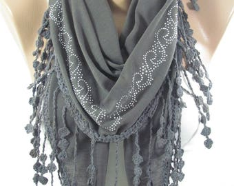 Gray Scarf Shawl Sparkle Stud Scarf Cotton Scarf   Winter Accessories Birthday  Gift  Holiday Gift For Women Gift For Her Gift For Mom