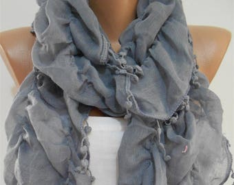 Mothers Day Gift For Her Ruffle Scarf Cotton Scarf Gray Scarf Shawl   Winter Fashion Scarf Accessories  Gift Gift For Mom Holiday