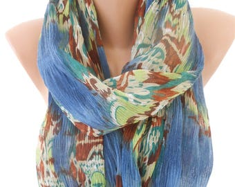 Cowl Scarf Crinkle Scarf  Blue Scarf Shawl  Winter Fashion Scarf Accessories       Holiday Gift For Women Gift For Her Gift For Mom