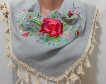 Embroidery Scarf Floral Scarf Tassel Scarf Summer Accessories Embroidered Boho Scarf Bohemian Women Accessories Gift For Her Gift For Women