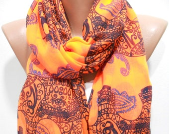 Elephant Scarf Cotton Scarf Animal Print Orange Scarf Shawl Bohemian  Fashion Accessories    Boho Scarf Holiday Gift For Women Gift For Her