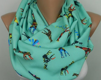 Clothing Gift Giraffe Scarf Infinity Scarf Animal Scarf Mint Scarf Winter Scarf Beauty Travel Gift Holiday Christmas Gift For Her For Wife