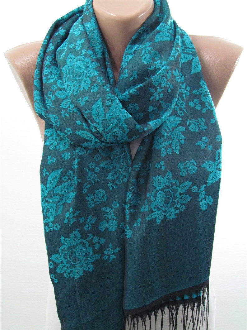 c7247cc9c14 Teal Blue Scarf Women Floral Scarf Shawl Birthday Gifts For Her - Spring  Fashion Cowl Scarf For Women Gift For Wife christmas gift for women
