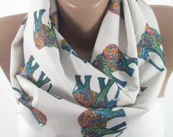 Elephant Scarf Infinity Scarf Animal Scarf  Winter Scarf  Fashion Accessories Elephant Print Scarf Gift For Women Gift For Her Gift For Mom