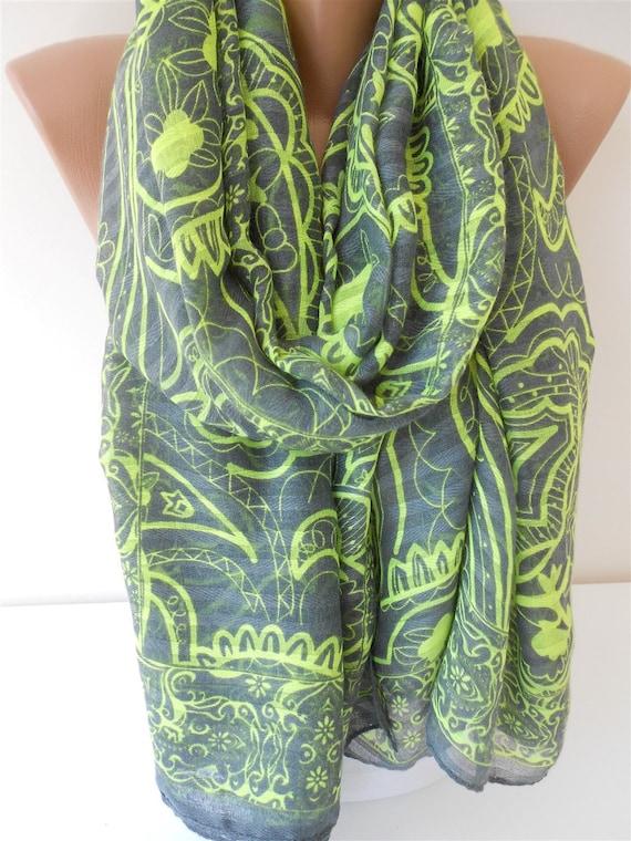 b080698a38b5 Paisley écharpe coton foulard echarpe Oversize gris fluo vert   Etsy