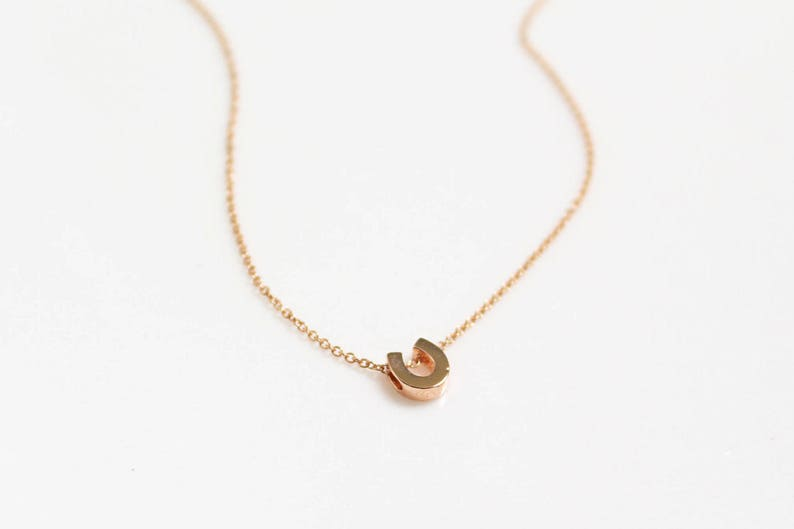 .925 Sterling Silver Chain,Tiny Horse/'s Hoof Horseshoe Necklace In GoldSilverRose Gold Lucky Charm