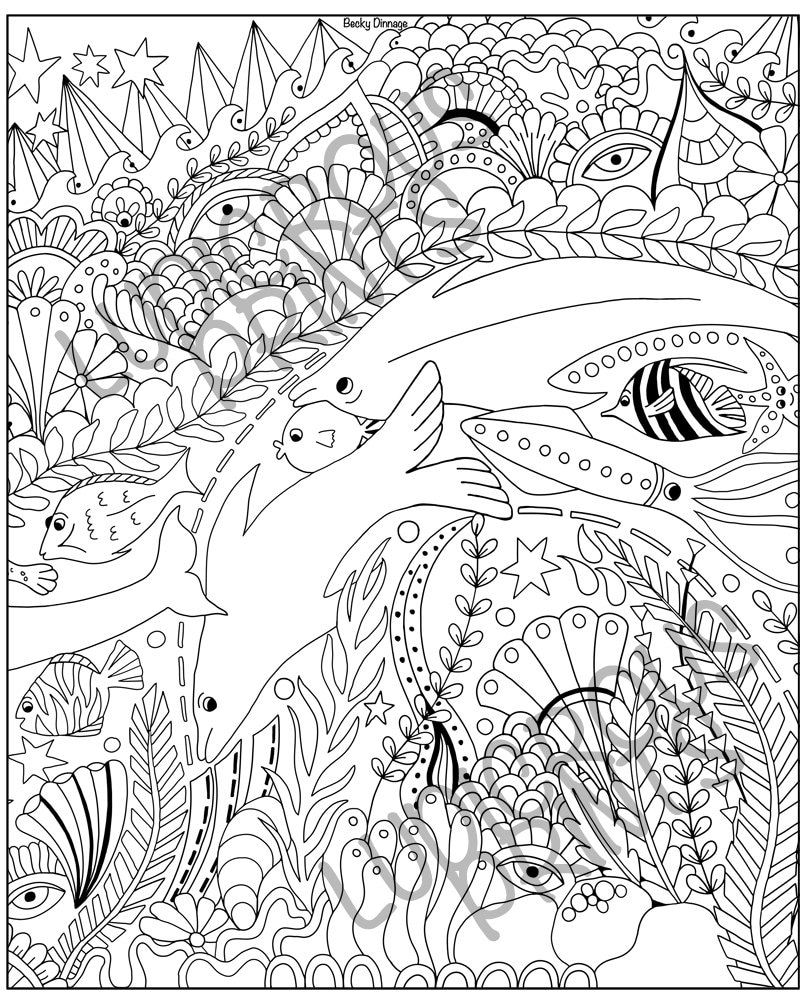 Colouring Pages for Adults Coloring Doodle Sealife Ocean ...