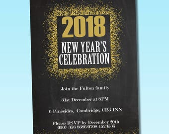 new year party flyer template printable new year invitation card photoshop elements and ms word template instant download