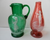 Fenton Mary Gregory Vase and Pitcher