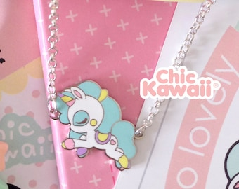 Chic kawaii unicorn necklace, silver tone. Super cute