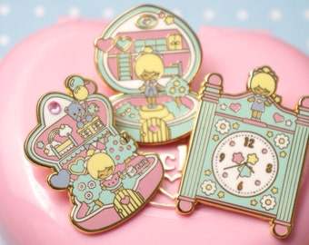Lot 3 x Enamel pin polly pocket style chic kawaii magic pastel kawaii cute pins heart, star and clock