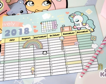 Chic Kawaii 2018 wall planner calendar 60 x 40 cm, super cute! With cute poster in the back.