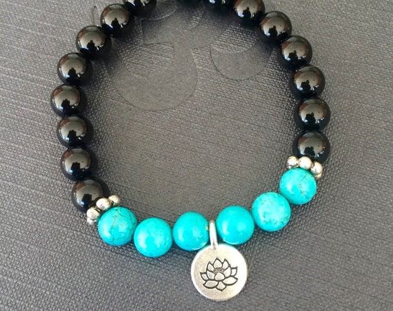 I am Protected Onyx & Turquoise Stretch Bracelet Lotus Charm Bracelet, Mala Beads for Stress Relief and Protection