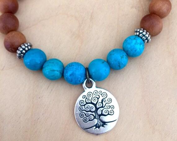 Boho Mala Bracelet, Sandalwood Mala Beads Turquoise Wrist Mala Tree of Life Symbol Yoga Beads Spiritual Gift Stretch Wrist Mala