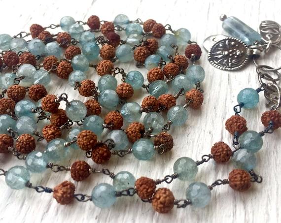 Mala Necklace 108 Beads Aquamarine Mala Beads Rudraksha Rosary Charm Bracelet Buddha Kali Rajasthan Pendant Yoga Jewelry March Birthstone