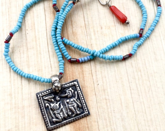 Yoga Jewelry Ganesh Hippie Necklace Hand Knotted Seed Beads Yoga Gift with Meaning