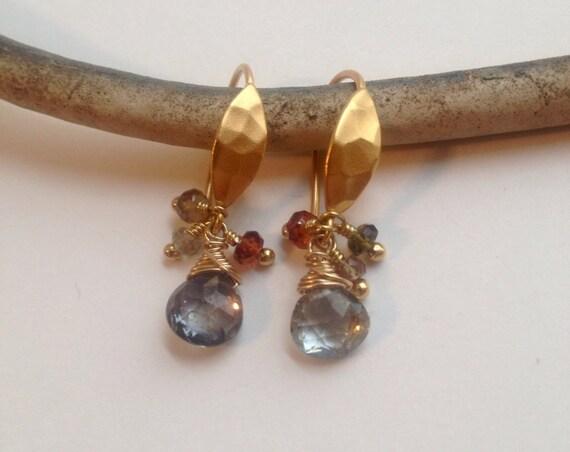Genuine Sapphire Earrings Gift For Women September Birthstone Minimalist Earrings African Sapphire Earrings Gold & Sapphire