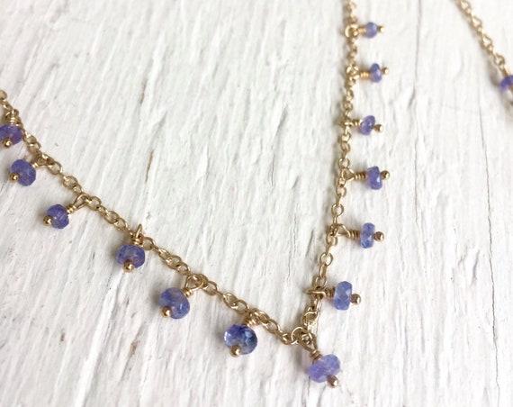 Tanzanite Necklace, Tanzanite Jewelry, Wedding Jewelry, Gift for Her, Girlfriend Gift, Healing Gemstones, Minimalist, Crown Chakra Jewelry