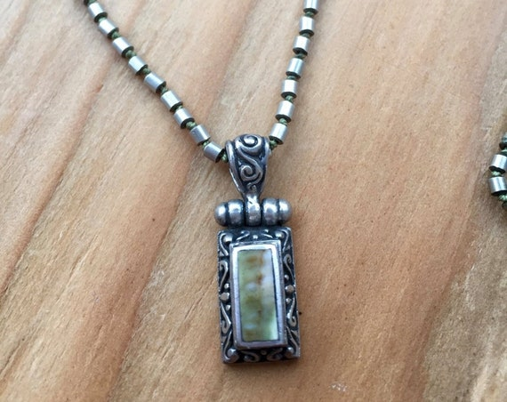 African Turquoise Necklace Bali Sterling Silver Pendant Jewelry For Protection December Birthstone