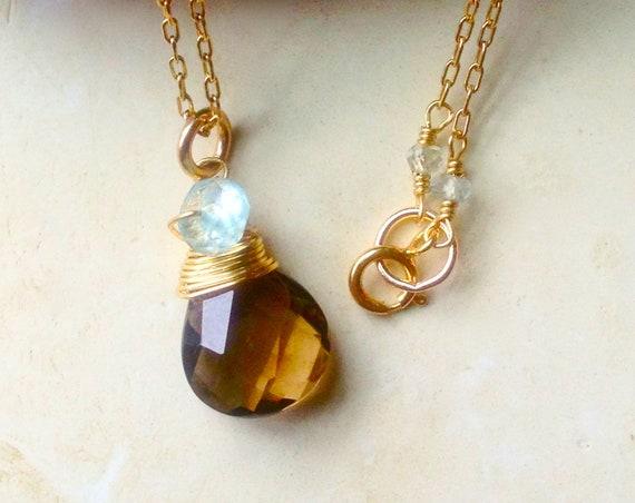 Aquamarine Necklace Birthstone Jewelry Smoky Topaz Minimalist Jewelry Girlfriend Gift Layered Necklace, Holiday Present