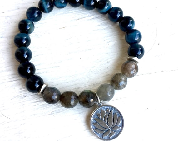 MANIFEST Beaded Bracelet Labradorite Bracelet Tiger Eye Bracelet Protection Yoga Jewelry Unisex Jewelry Lotus Boho Bracelet Third Eye Chakra