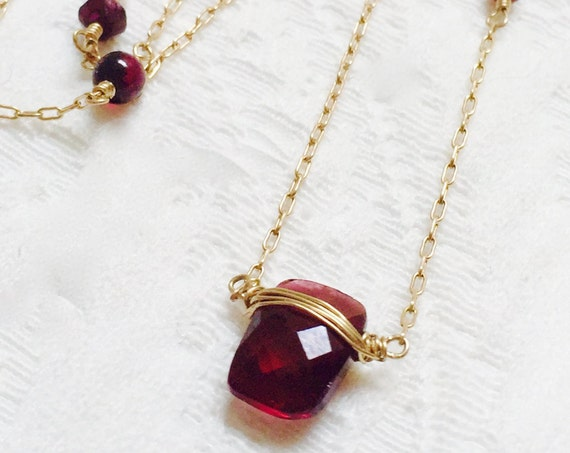 Garnet Necklace - January Birthstone Jewelry - Root Chakra Necklace, Grounding - Garnet Pendant - Delicate Garnet Necklace - Wedding