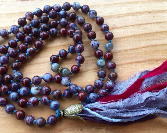 Tassel Necklace Labradorite Mala Beads Boho Jewelry Root Chakra Healing Mantra Meditation Japa Mala Silk Sari Knotted Mala Beads 108