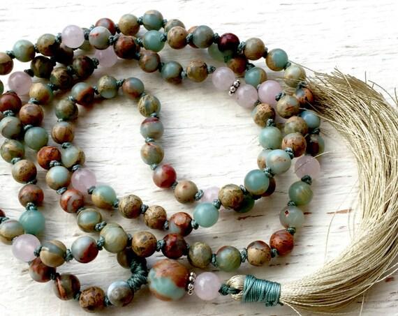 KNOTTED MALA BEADS 108 - African Opal Mala Beads, Rose Quartz - Heart Chakra Mala -Yoga Jewelry - October Birthstone, Root Chakra