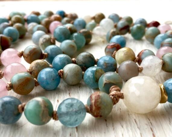 Moonstone Mala Beads Aquamarine Necklace Rose Quartz Goddess Moon Tassel Necklace Japa Mala Prayer Beads Meditation Yoga Gift For Her