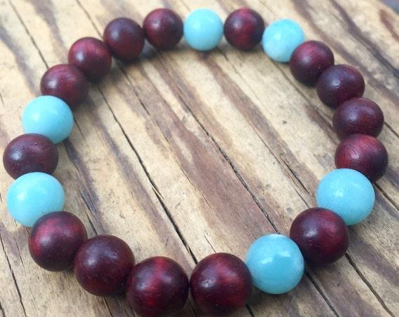 Amazonite and Rosewood Stretch Bracelet, Yoga Jewelry, Stackable Bracelet, Stress Relief Wrist Mala Beads, Minimalist