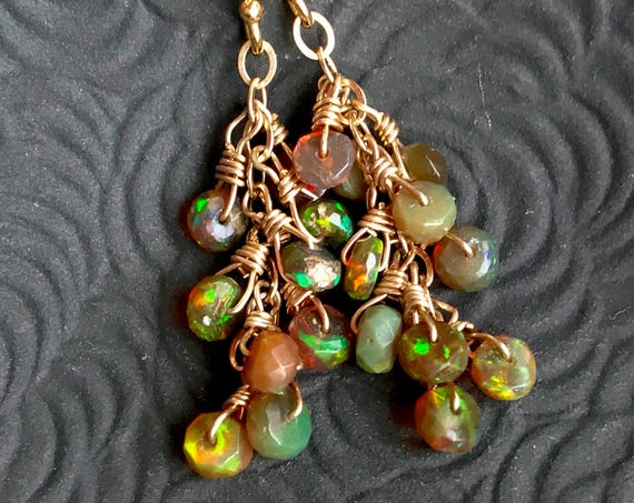 Genuine Opal Earrings October Birthstone Gift For Women Ethiopian Welo Opal Fire Opal Cluster Earrings Opal Dangle Earrings