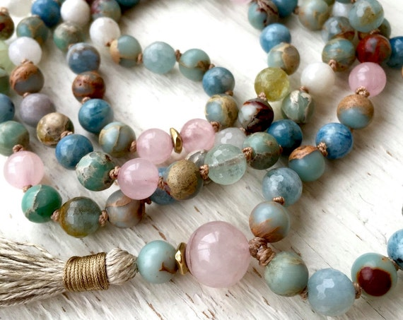 YOGA JEWELRY 108 Mala Beads Meditation Beads Aquamarine Necklace African Opal Rose Quartz Healing Stones Chakra Healing  Knotted Necklace
