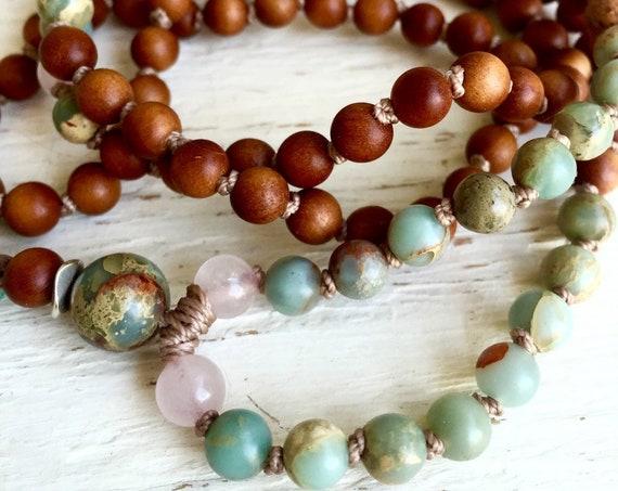 SANDALWOOD MALA, Rose Quartz Mala Necklace, African Opal, 108 Tassel Necklace, Prayer Beads, Japa Mala, Bohemian Mala Beads,