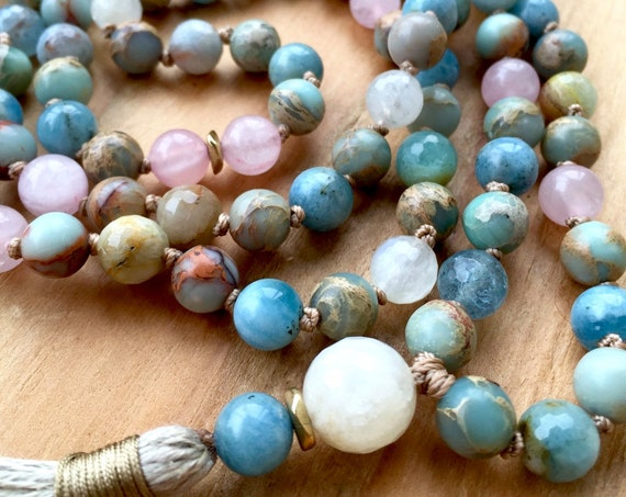 Moonstone Mala Beads Aquamarine Necklace Rose Quartz Tassel Necklace Japa Mala Prayer Beads