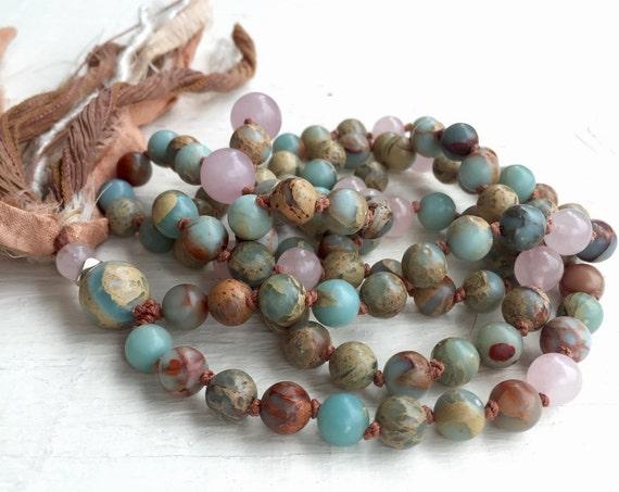 Boho Mala Beads,  Rose Quartz Mala Necklace, African Opal, Tassel Necklace, Yoga Jewelry, 108 Beads, Meditation, Prayer Beads Spiritual Gift