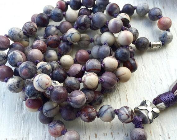 108 Mala Beads Jasper Mala Necklace Bali Sterling Silver Long Tassel Necklace Meditation Beads Yoga Gift