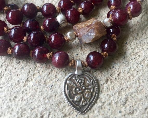 Garnet Mala Beads, Sapphire Beaded Bracelet, Turquoise Mala Necklace, Root Chakra Mala, Yoga Gift, Hanuman Pendant, Boho Mala