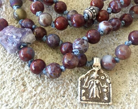 108 Mala Beads Fire Agate Tanzanite Mala Bracelet Rajasthan Lakshmi Charm Bracelet Yoga Jewelry