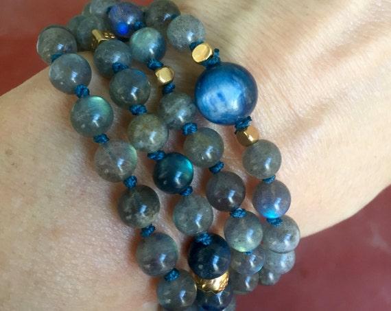 108 LABRADORITE MALA BEADS Kyanite Necklace Larimar Mala Labradorite Bracelet Infinity Necklace Yoga Gift Throat Chakra Healing Gemstones