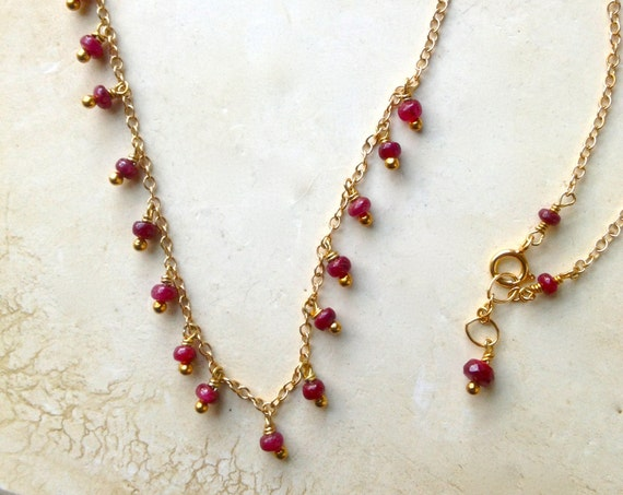 Genuine Ruby Necklace July birthstone Ruby Jewelry Holiday Gift, Wedding Jewelry, Minimalist Layered Necklace