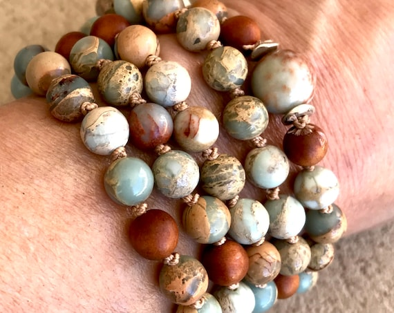 African Opal Mala Beads 108 Mala Necklace Fragrant Sandalwood Stress Relief Natural Stone Yoga Jewelry