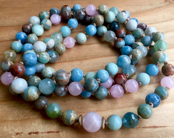 108 MALA BEADS Gemstone Mala Necklace Rose Quartz Mala Aquamarine Infinity Necklace Knotted Bracelet Yoga Beads Crystal Healing Yoga Jewelry