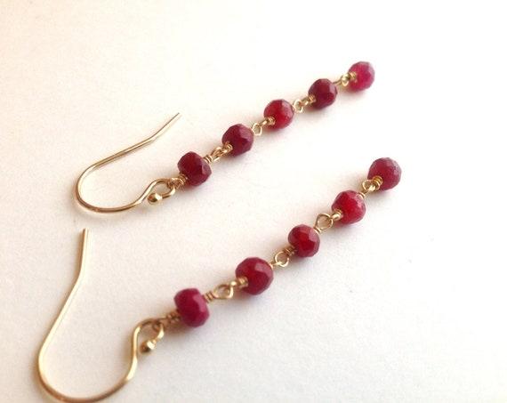 Long Ruby Earrings July Birthstone Dangle Earrings 14K Gold Fill  Dainty Earring Holiday Gift