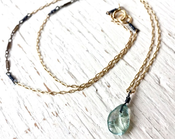 Delicate Aquamarine Necklace, March Birthstone Mixed Metal Jewelry Silver and Gold Layered Necklace