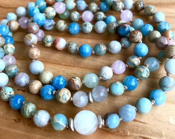 MOONSTONE MALA BEADS Aquamarine Rose Quartz African Opal Infinity Necklace Wrap Bracelet Goddess Healing Crystals Knotted Prayer Beads