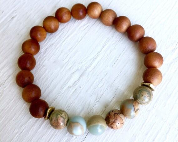 Sandalwood Bracelet , Boho Jewelry , African Opal , Stretch Bracelet Boho Bracelet Wrist Mala Bracelet October Birthstone Yoga Jewelry